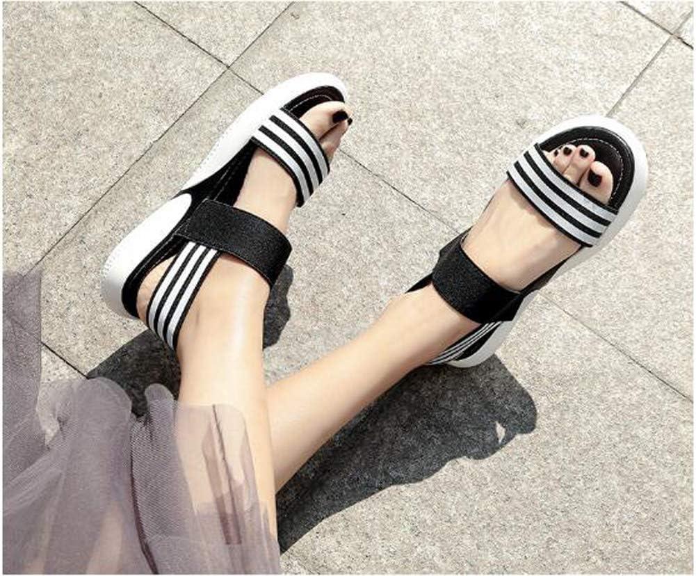 Sandales à tête ronde pour femme Sandales d'été Vacances Plage Casual Sandales Noir