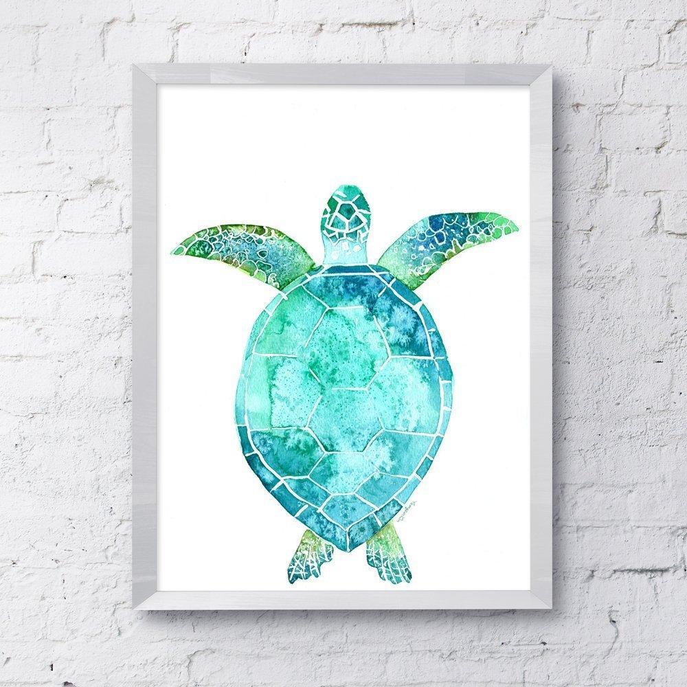 Amazon Com Sea Turtle Watercolor Art Print For Wall Decor Handmade