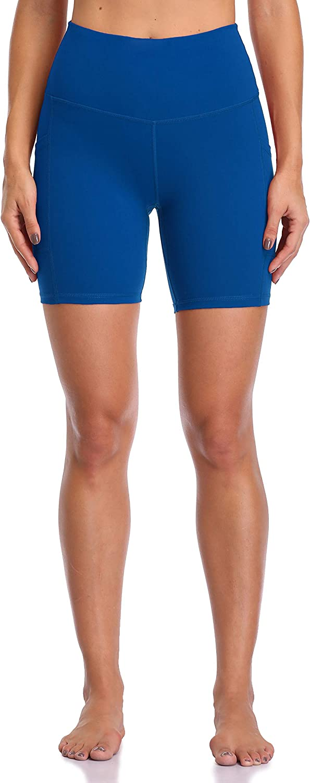 mit Taschen 15,2 cm Innennaht Colorfulkoala Damen Yoga-Shorts mit hoher Taille