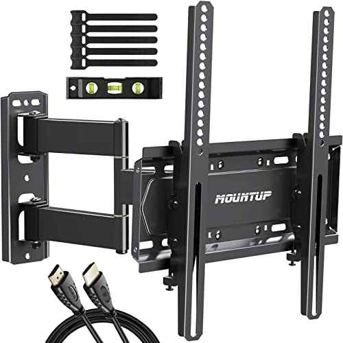 MOUNTUP Full Motion TV Wall Mount Bracket for 26-55 Inch TVs with 19.6 Extension, TV Mount with Tilt, Swivel and Rotation up to 60LBS VESA 400x400mm – Easy Single Stud Install, MU0011