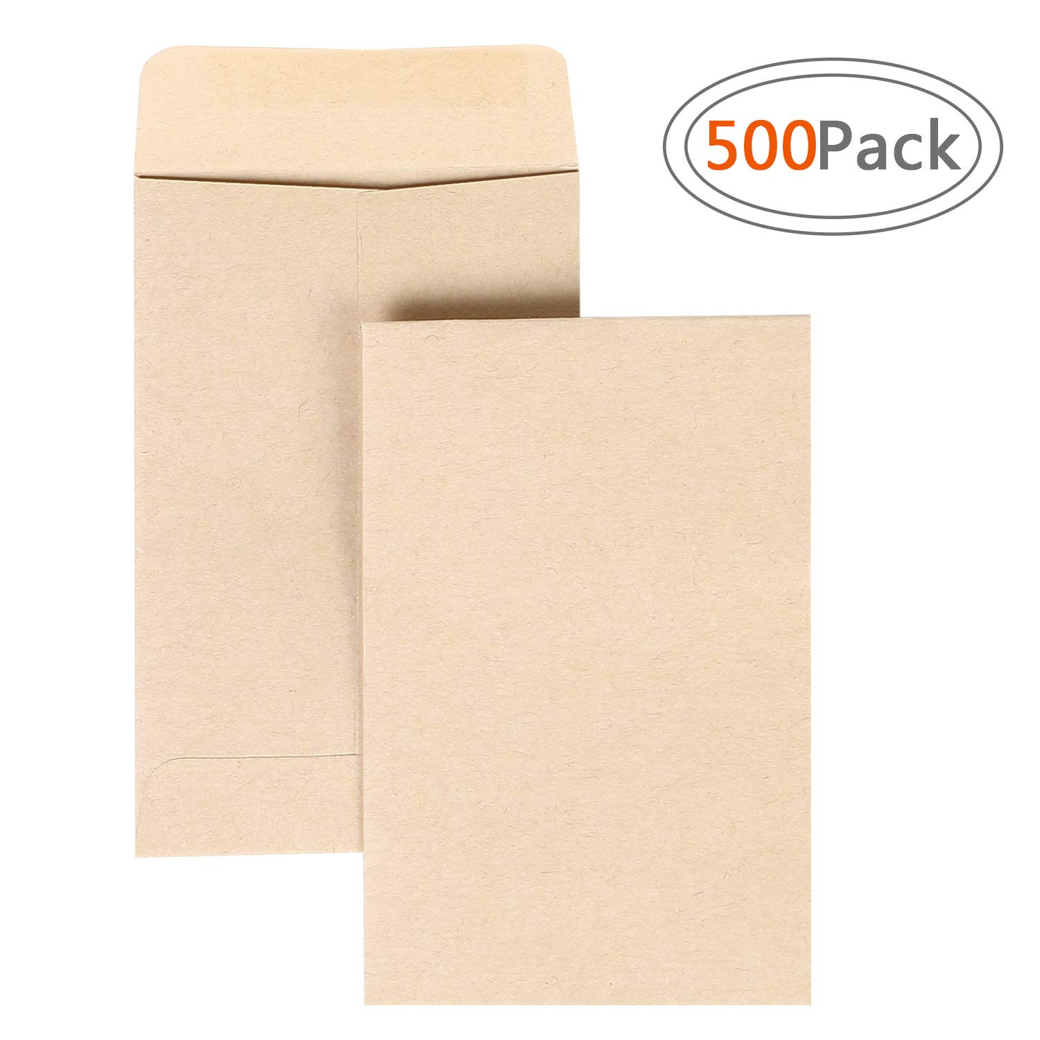Road 500pcs Brown Kraft Mini Coin Envelopes (2.25 x 3.5 inch) for Wedding, Birthday Party Gift Supplies by Road