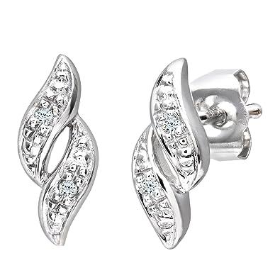 3aa18bb22595 Naava Pendientes para Mujer de Oro Blanco 9K con 4 Diamantes  Amazon.es   Joyería