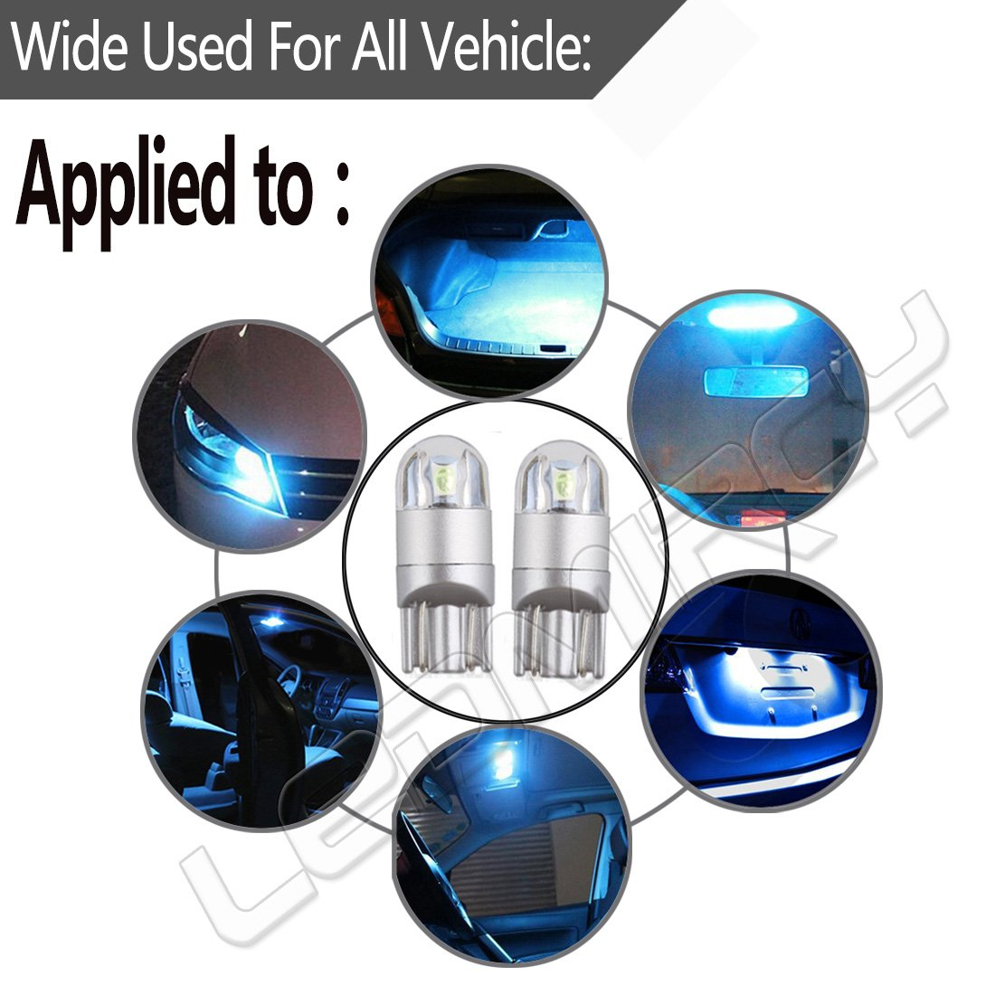 10PCS White W5W T10 LED Light Bulbs 501 921 194 168 LED Car Interior Exterior Lights 12V 3030 LED 3SMD License Plate Light Dome Map Reading Door Trunk Clearance Compact Wedge Side Dashboard Light