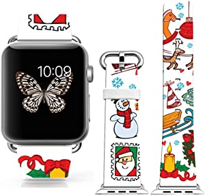 Strap Compatible for Apple Watch Series SE/6/5/4/3/2/1 38mm/40mm - ENDIY Designer Leather Fashionable Band Replacement for Iwatch - Funny Christmas Snowman and Cute Little Horse