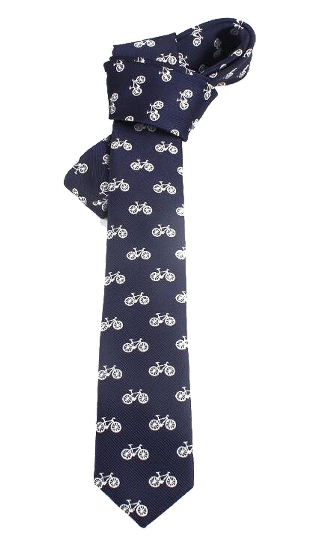 N.R.S Blue Skull Crossbones/Bicycle Skinny Necktie