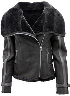 Womens Short Black Merino Sheepskin Aviator Leather Jacket