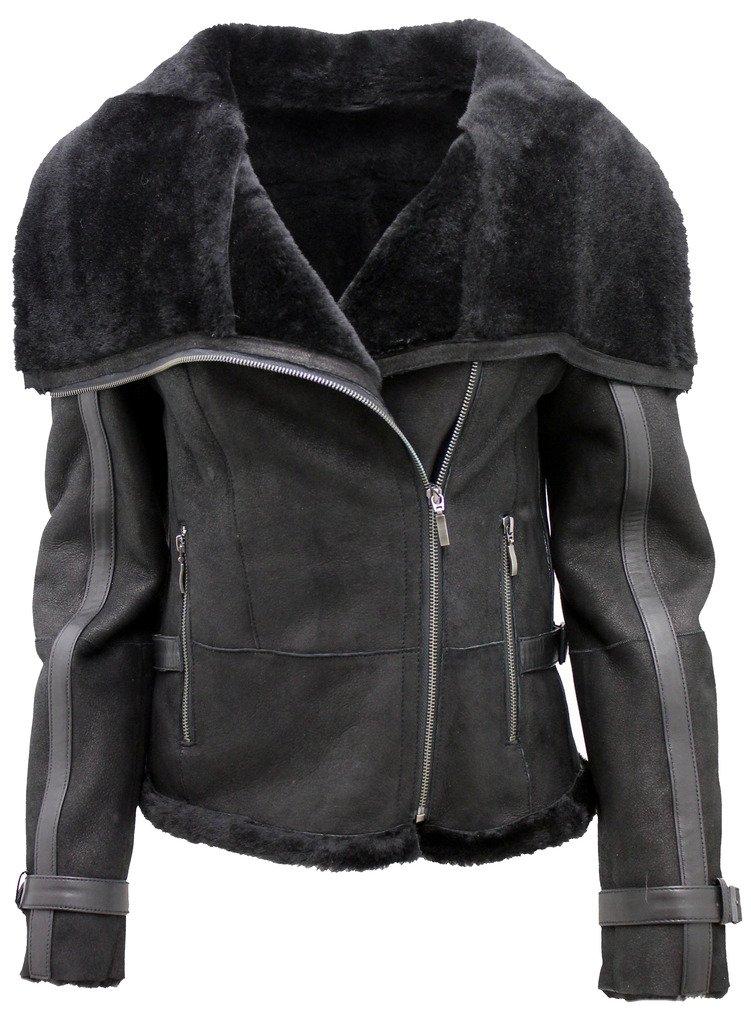 Women's Short Black Merino Sheepskin Aviator Leather Jacket L