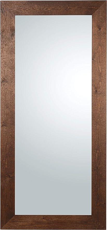 mo wa miroir rectangulaire long mural ou a poser avec cadre en bois sapin finition fonce wenge fabrique en italie mesure cm 85x185 vertical et