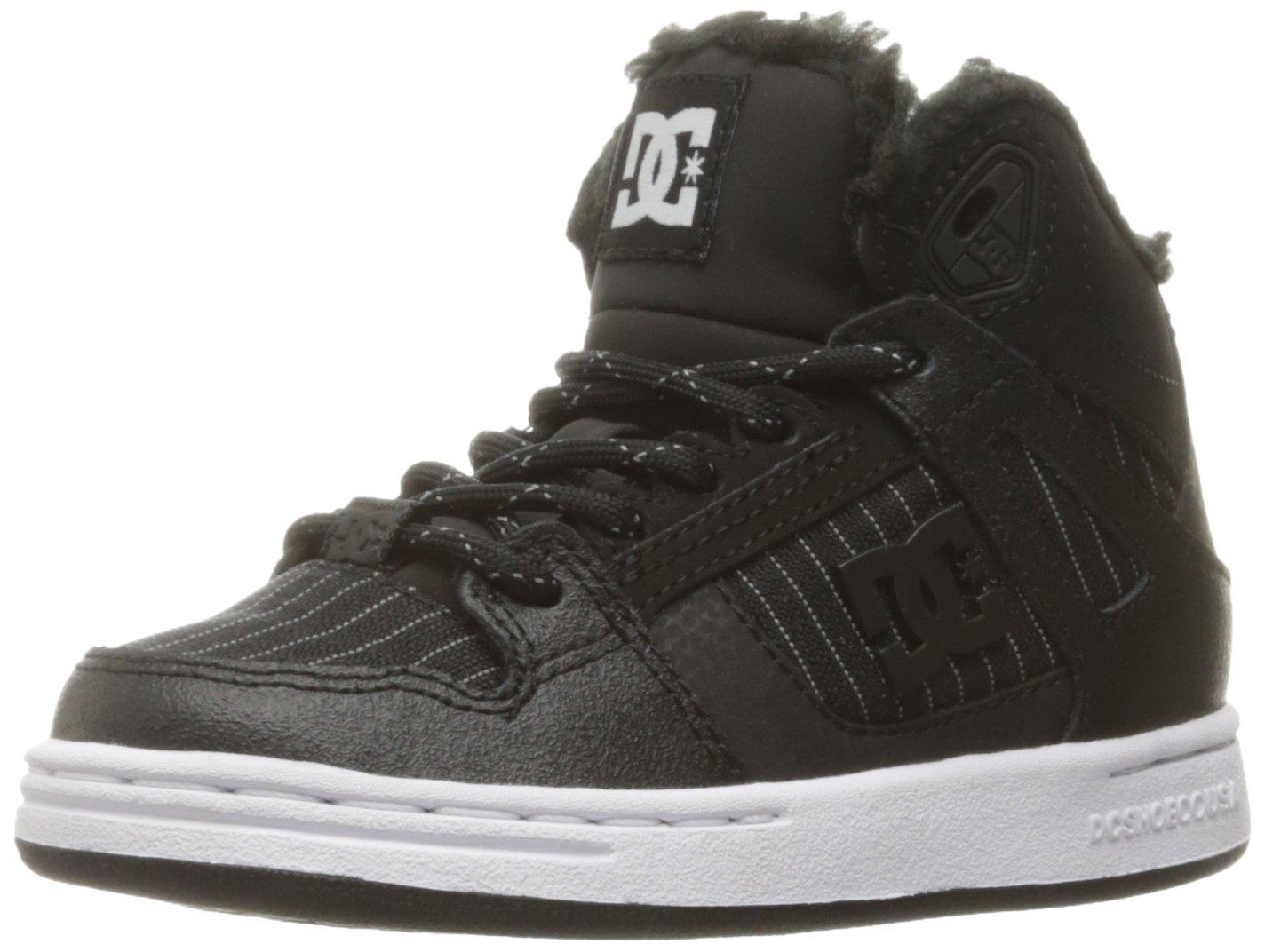 DC Boys Youth Rebound Wnt High Top Skate Shoes Sneaker Black/White, 11 M US Little Kid