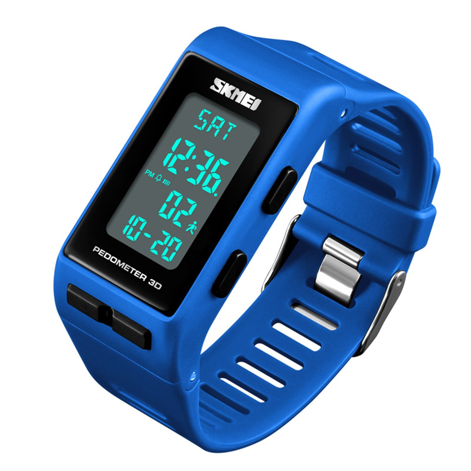 Women Mens Sports Watches Pedometer Calorie Digital Watch Waterproof LED Electronic Wrist Watch (Blue)