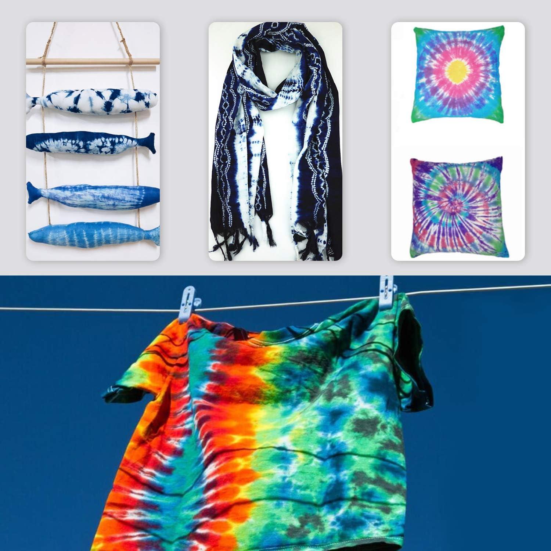 2 Tischdecke 10 Handschuhe und Aufbewahrungsbox 15 St/ück Essort Stoff Textil Farben Tie-Dye Kit mit 120 St/ück Gummi Band BONROB Tie Dye Kit