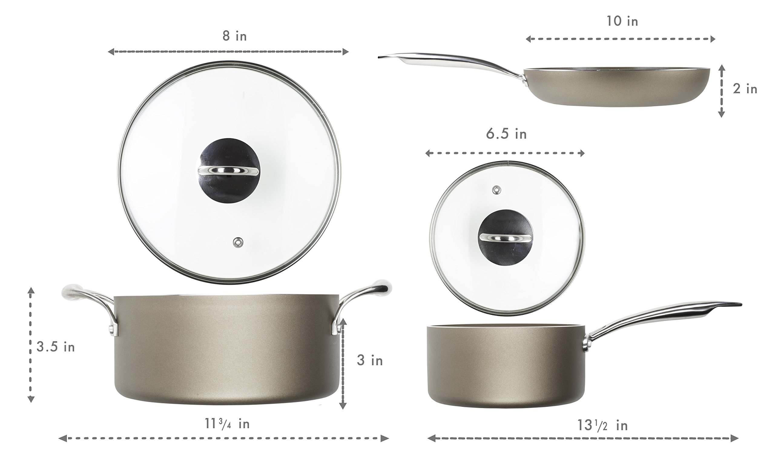 WaxonWare Hive Nonstick Cookware Set 5 PCS Pots and Pans Set (Frying Pan, Saucepan, Dutch Oven) - PTFE, PFOA and APEO Free Plus Induction & Oven Safe by WaxonWare (Image #6)