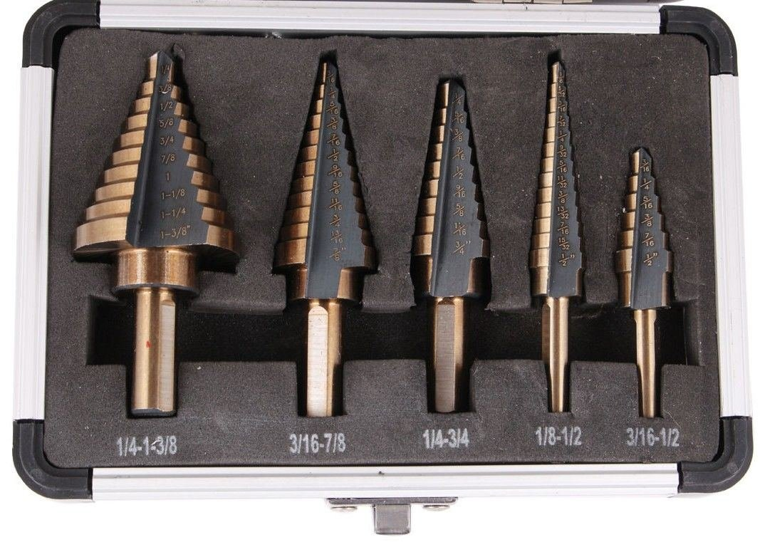 5PCS HSS Cobalt Multiple Hole 50 Sizes Step Drill Bit Set Tools with Aluminum Case:New by WW shop
