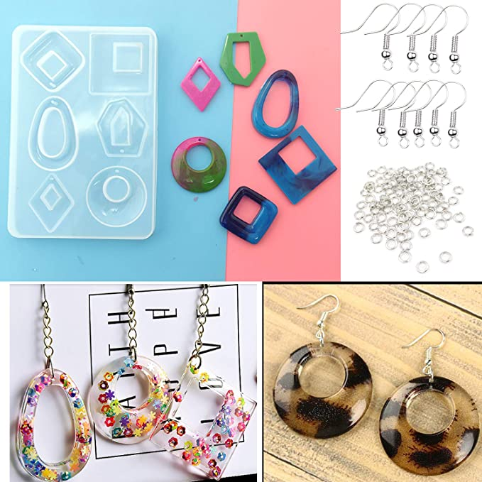 Jewelry Making Tools Suitable for Craft Lovers DIY Fashion Pendant Jewelry Making SKONHED 2PCS Silicone Earring Mold Earring Resin Mold