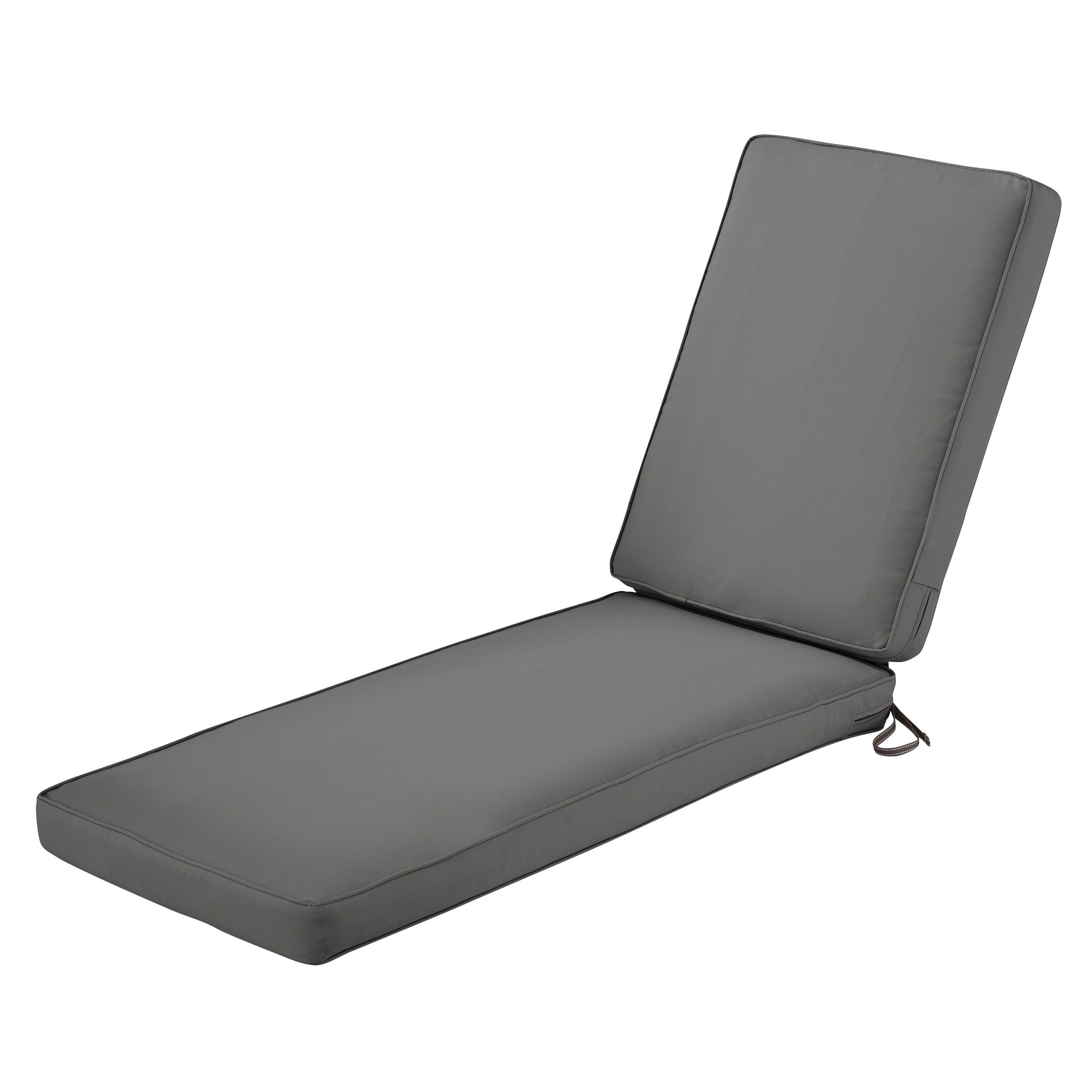 Classic Accessories Montlake Chaise Cushion Foam & Slip Cover, Light Charcoal, 72x21x3 Thick