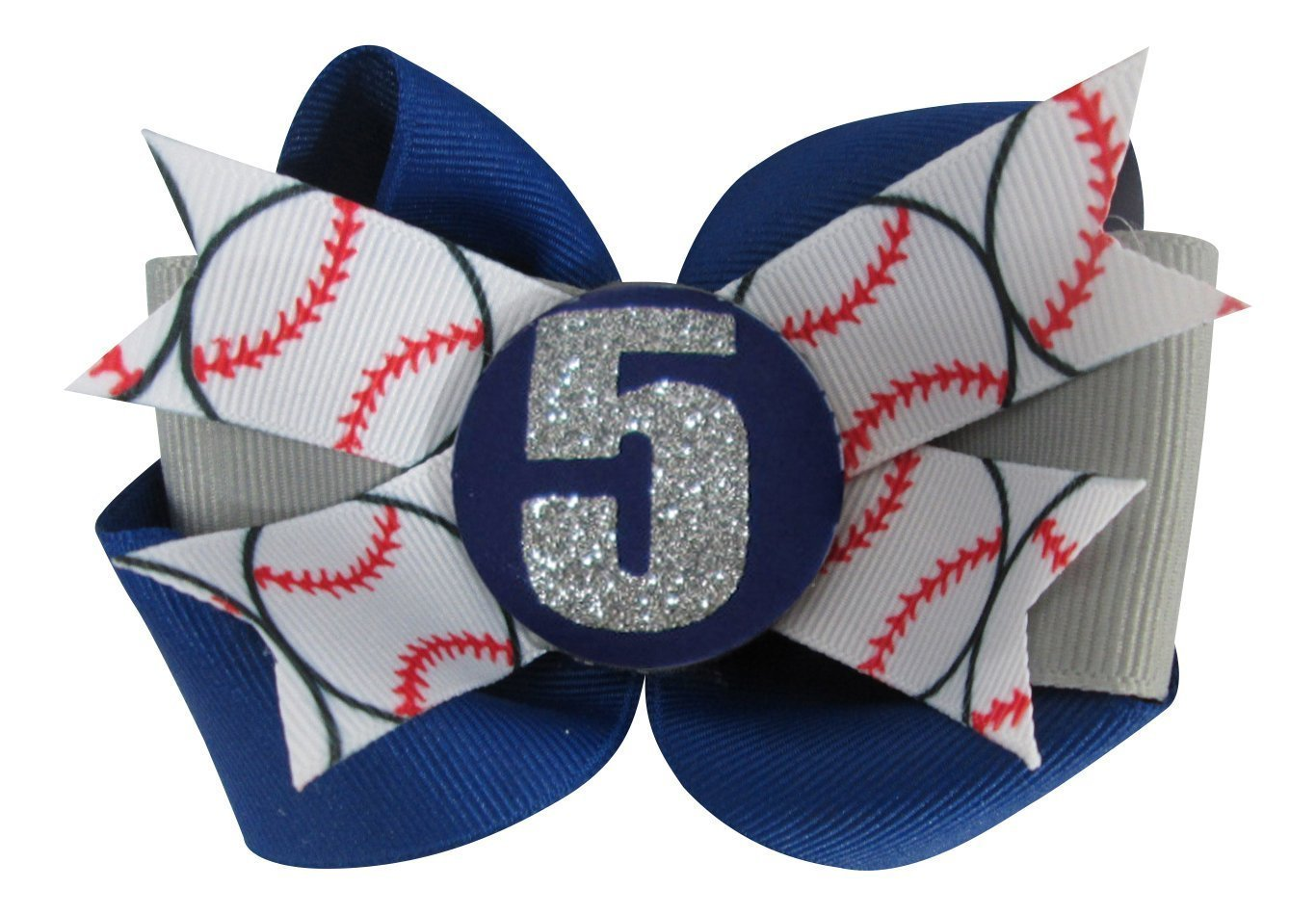 Customizable Baseball Hair Bow Clip for Girl in Red and Black