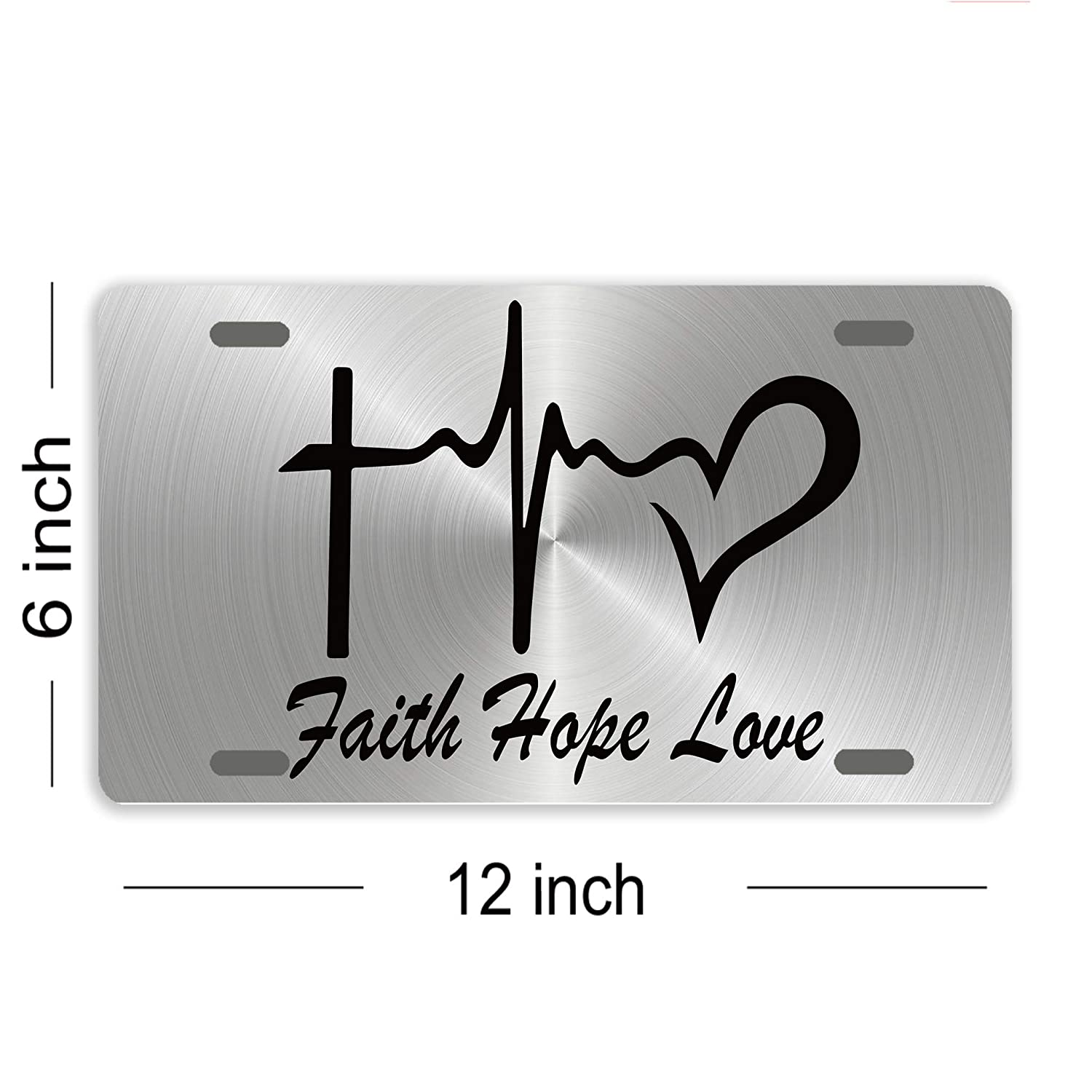 Eprocase License Plate Cover Novelty Tag Metal Aluminum Car Plate Decorative Car Tag Sign Auto Tag Front License Plate 4 Holes 12 X 6 -Faith Hope Love 01