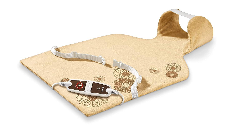 Beurer HK 58 LED - Almohadilla electrónica cervical / dorsal, funda lavable, 62 x 42 cm, color crema