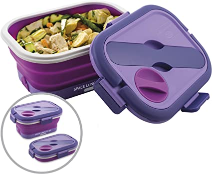 Macom Just Kitchen 866 Space Lunch to Go Hornillo eléctrico plegable Salvaspazio, 35 W, morado/blanco
