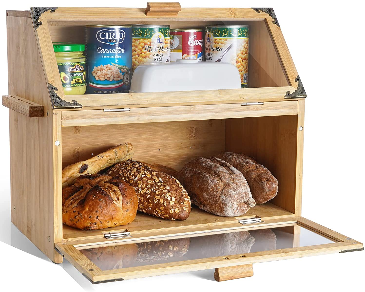 MIXC Bread Box for Kitchen Countertop, Bamboo Double Layers Large Bread Boxes, Plastic Panels Food Storage Box for Kitchen Counter Decor