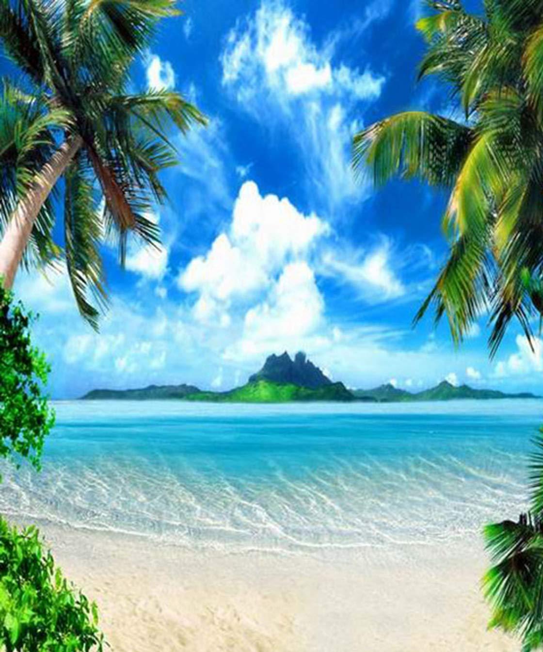 Gardenia 8 x 10フィート トロピカルハワイビーチブルー 海の空のヤシの木 海のウェディングパーティー装飾 絵画クロス カスタマイズ写真背景 デジタルプリント 背景 写真スタジオ小道具   B07K4ZV1S1