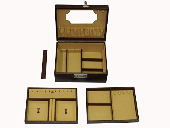 6fca9087e jewelry box genuine leather double tray: Amazon.ae: Laveri Leather