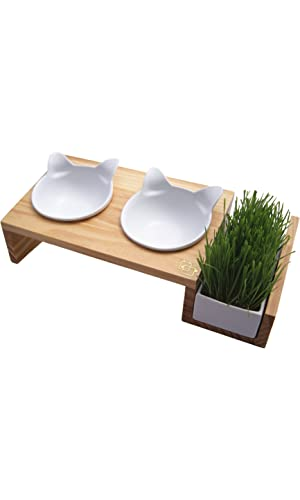 ViviPet Cat Dining Table with Ceramic Bowls