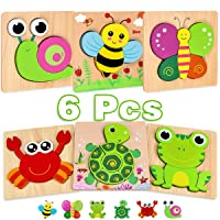 Dreampark Wooden Jigsaw Puzzles, 6 Pack Animal Puzzle Games for Toddlers Kids 1...