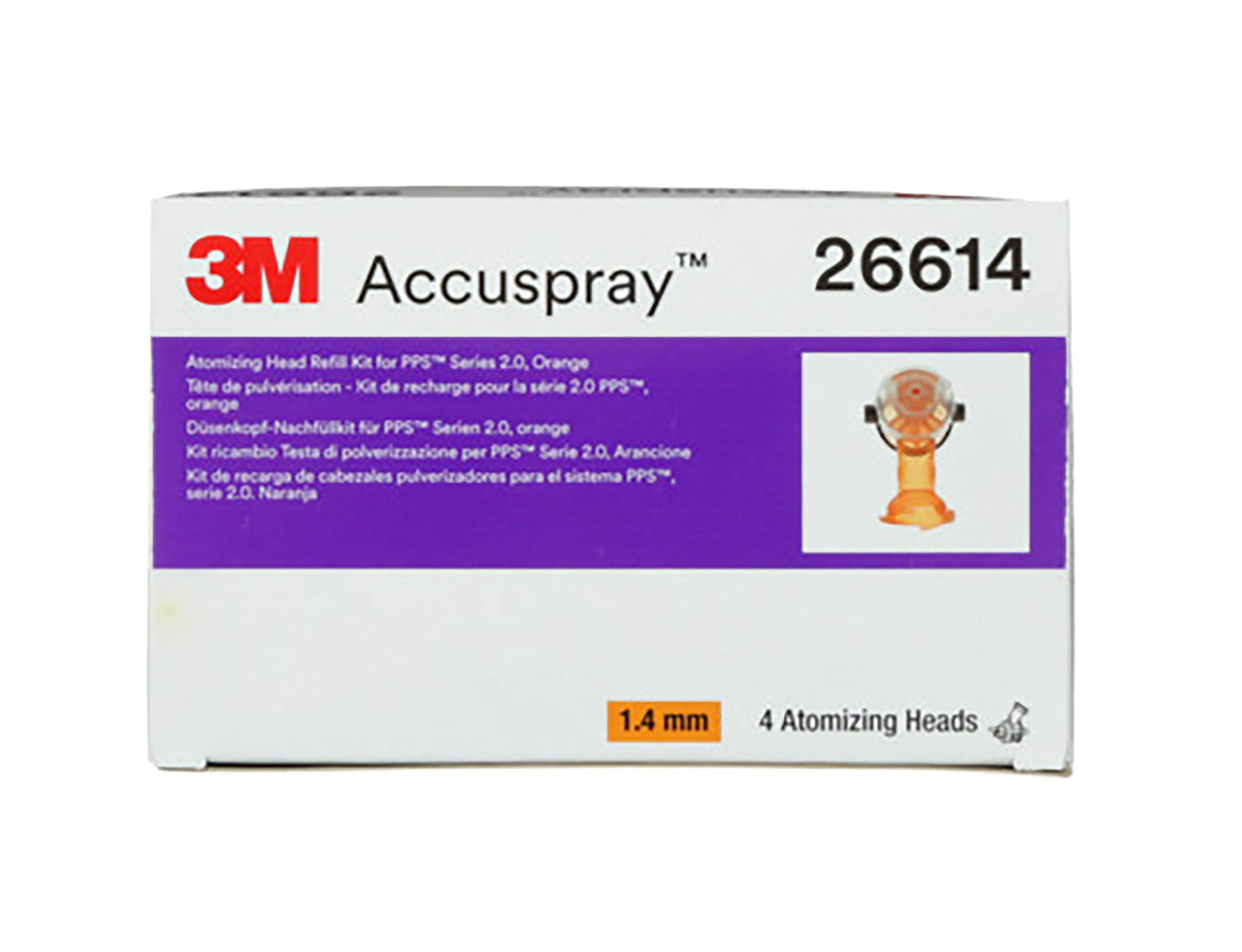 PPS 3M Series 2.0 and Accuspray ONE Atomizing Head Refill, 26614, 1.4mm, Orange, 4 Pack