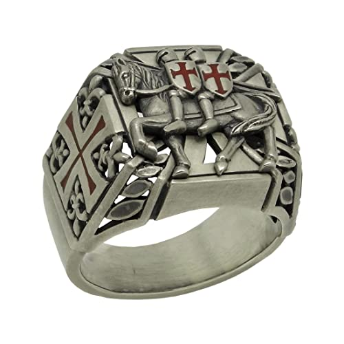 Knights Templar Silver Mens Ring the Poor Fellow Soldiers of Christ