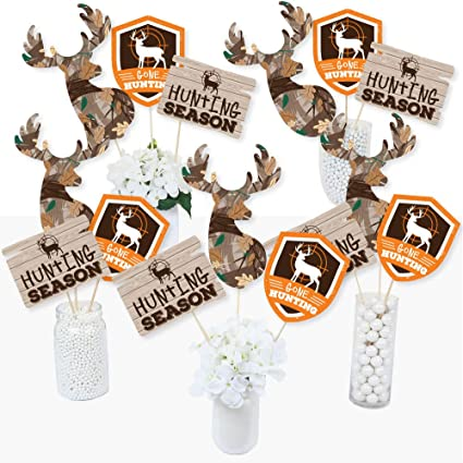 Amazon Com Gone Hunting Deer Camo Baby Shower Or Birthday Party Centerpiece Sticks Table Toppers Set Of 15 Toys Games