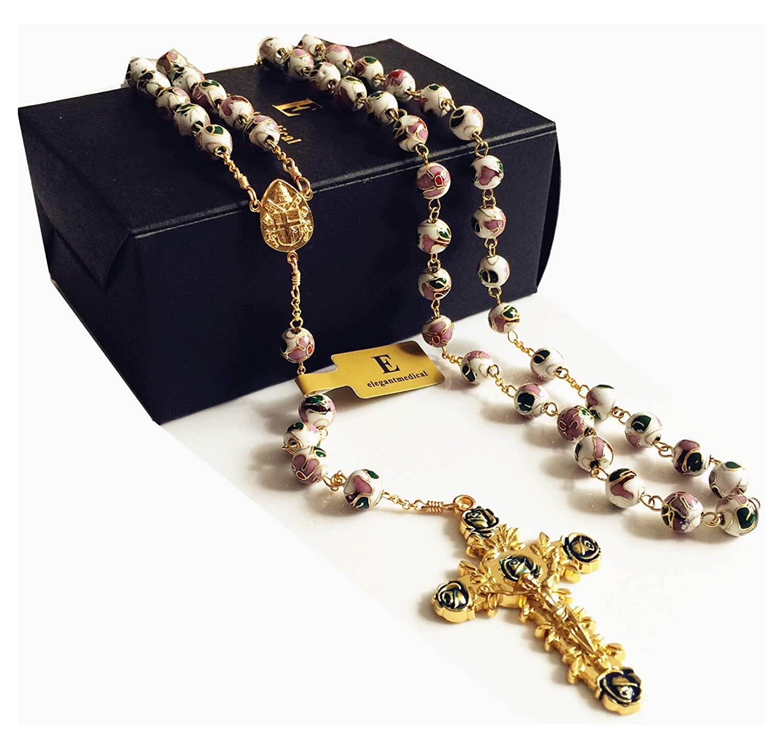 elegantmedicalゴールド8 mmホワイト七宝焼きエナメルローズ祈りビーズロザリオ十字架カトリックネックレスボックス   B075GG9SRK