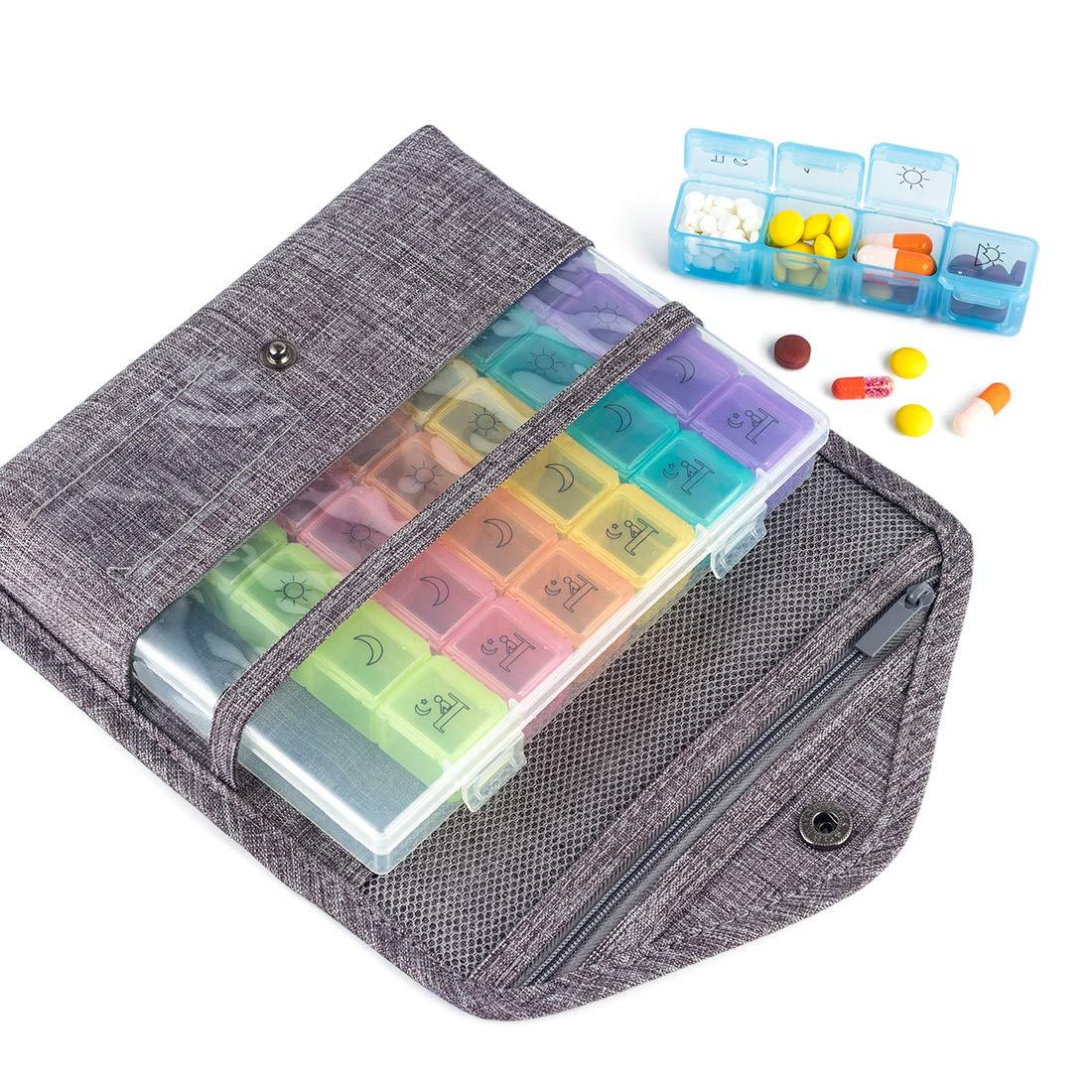 Travel Premium Pill Organizer Case Box Passport Wallet,Multi-Function Daily Pill Box for Vitamin/Fish Oil/Supplements