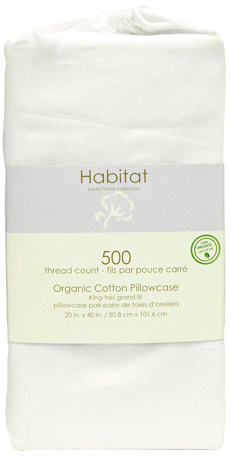 100% Organic Cotton 500TC White King Pillow Cases