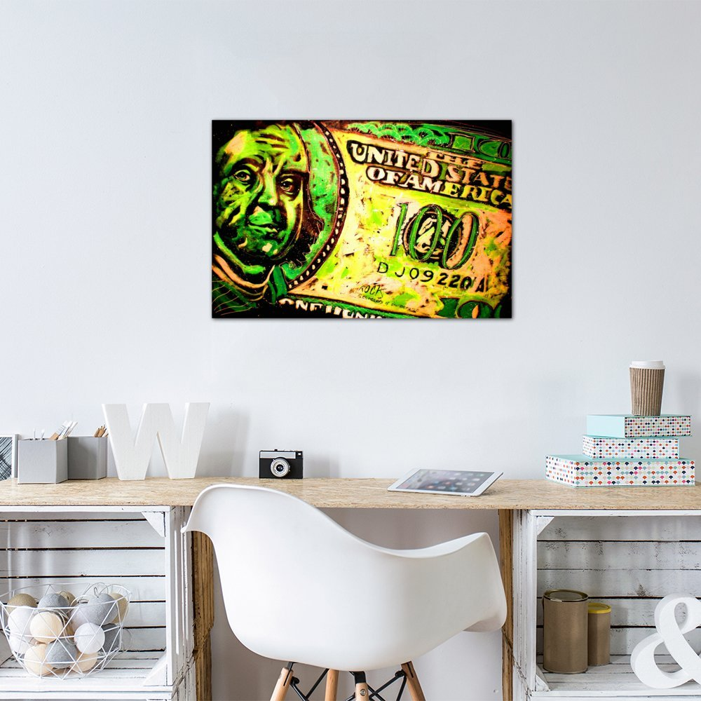 iCanvasART 3 Piece 100 Bill 003 with Signature Canvas Print by Rock Demarco 60 x 40//0.75 Deep