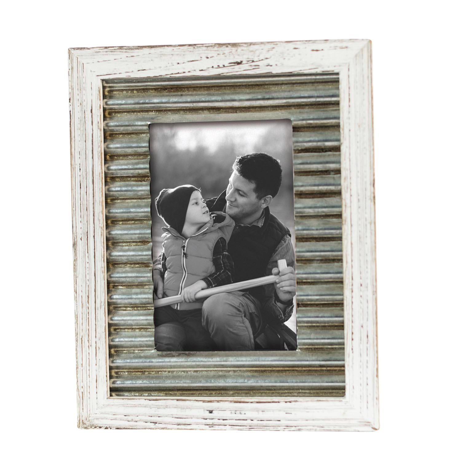 Foreside Home & Garden FFRD06112 5X7 Logan Distressed Frame White Foreside Home and Garden