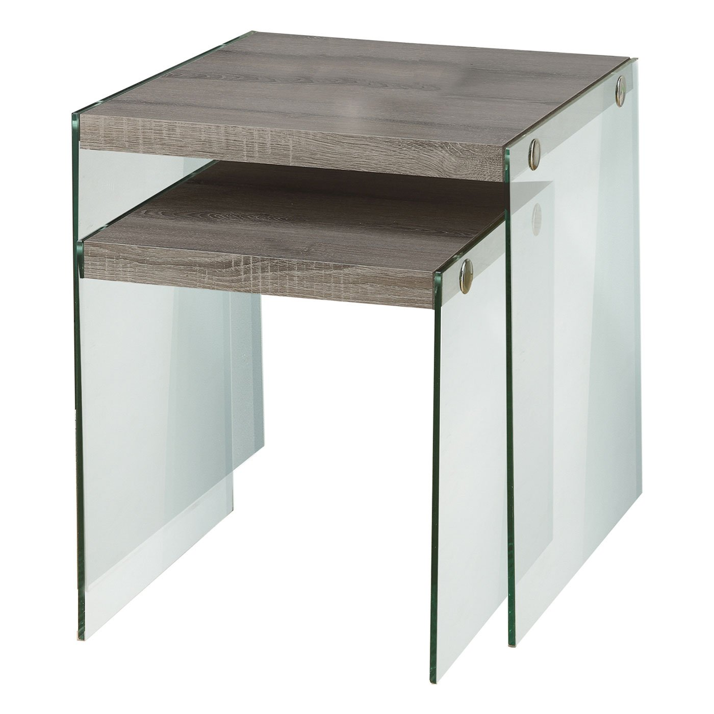 Monarch Specialties I 3053,Nesting Table, Tempered Glass, Dark Taupe by Monarch Specialties (Image #1)