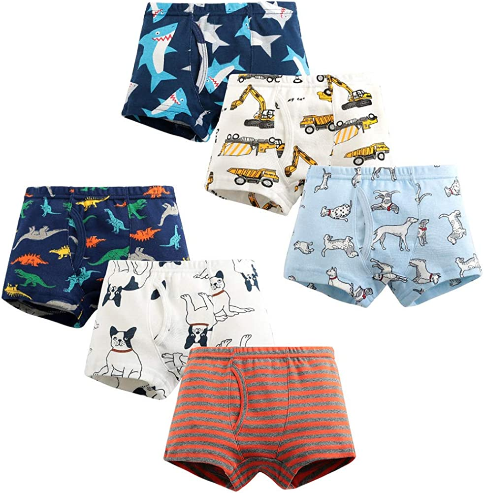 Happy Cherry Toddler Boys 2-8T Underwear Breathable Trainning Boxer Brief 6-Pack