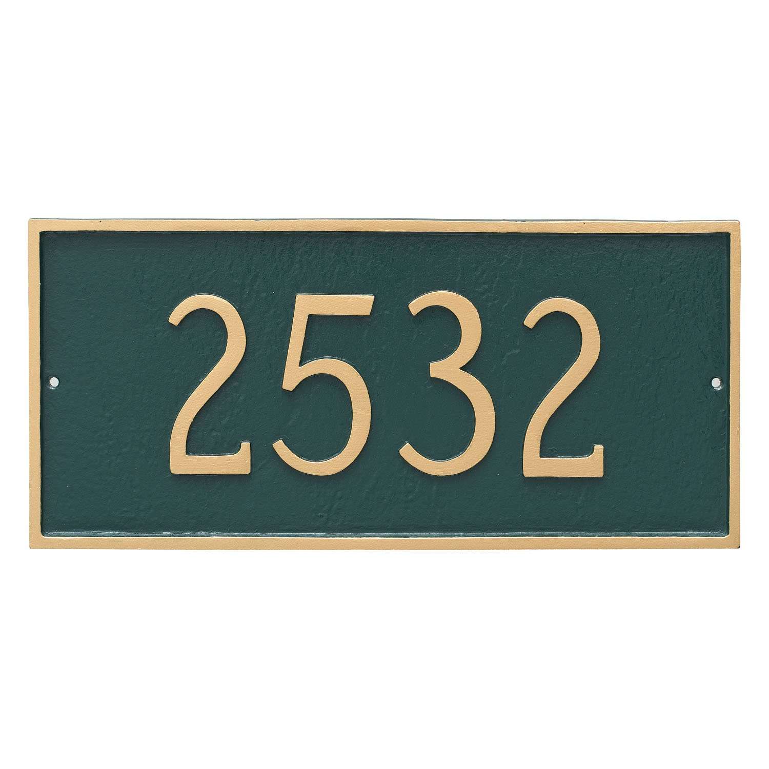 Montague Metal 10'' x 21'' Classic Rectangle One Line Address Sign Plaque, Large, Aged Bronze/Gold by Montague Metal
