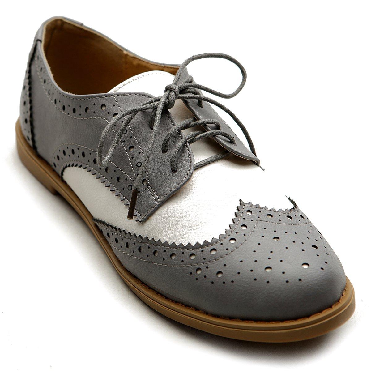 Ollio Women's Flat Shoe Wingtip Lace Up Two Tone Oxford M2913(8.5 B(M) US, Grey)