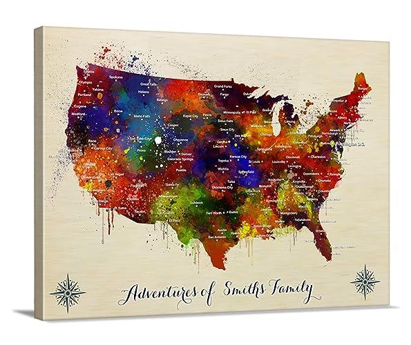 Watercolor US Map Push Pin Wall Art Canvas Print, Personalized USA Map  Adventures Wall Art