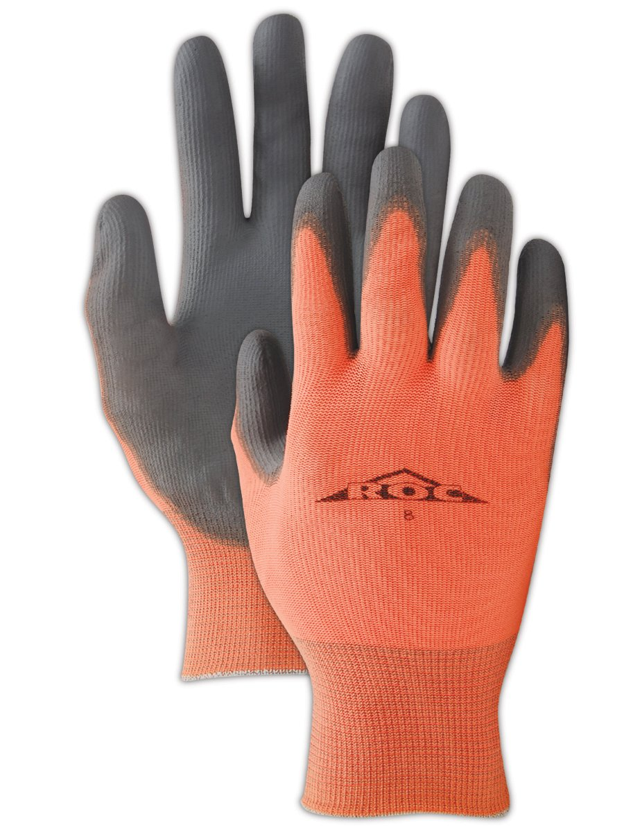 Magid GP140 ROC Nylon Shell Polyurethane Palm Coating Glove with Knit Wrist Cuff, Work, 9 Length, Size 8, Gray/Orange (Case of 12) by Magid Glove & Safety B00BAZVXN2
