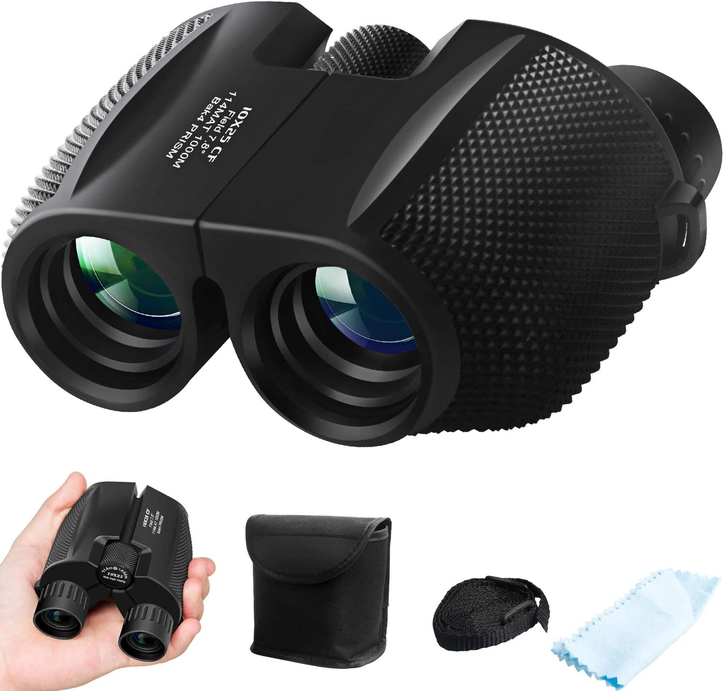 Binoculars for Adults Kids, ZIPOUTE 10x25 Folding Compact Binoculars with Weak Light Night Vision Clear for Birds Watching Hunting Traveling Concerts Outdoor Sports with Strap Carrying Bag