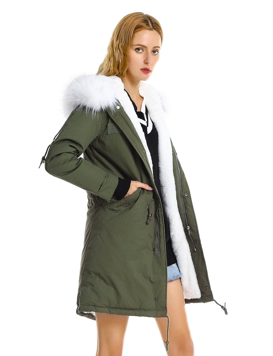 ZAN.STYLE Women Warm Winter Coat Zip up Long Fleece Lined Fishtail Parka Jacket with Faux Fur Hood (Green and White, M)