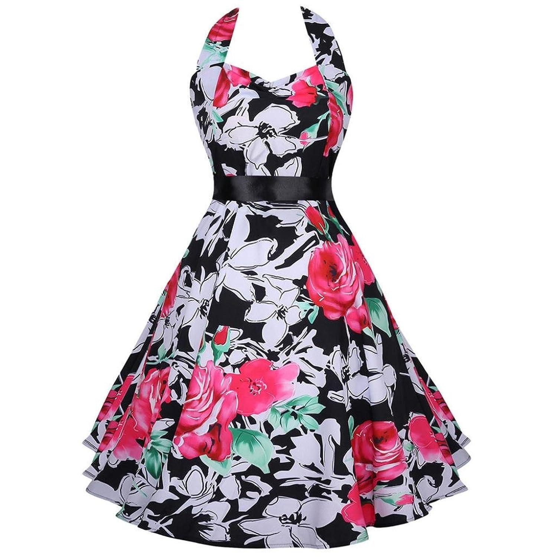 OverDose Damen Neckholder Rockabilly 50er Vintage Retro Kleid ...