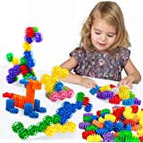 FIOLOM Building Blocks Puzzles Sets, Educational Learning Toys Interlocking Solid Gear Set Preschool Gifts for Boys Girls Kids Over 2 3 Year Old
