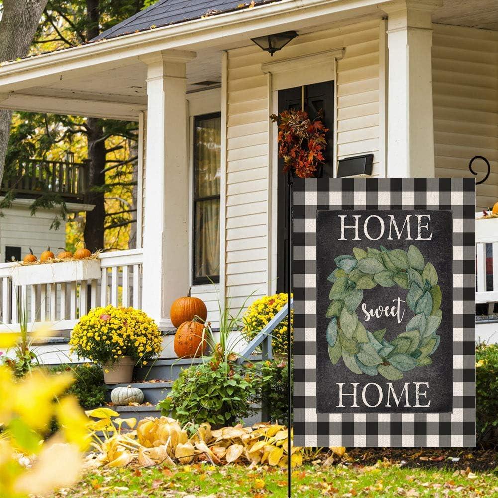 BLKWHT 114391 Buffalo Magnolia Home Sweet Home Small Garden Flag Vertical Double Sided 12.5 x 18 Inches Autumn Fall Burlap Yard Outdoor Decor