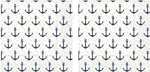 Navy Blue Anchor Dots 3-Ply Paper Cocktail Napkins 40-Count, Nautical Barware Beverage Serviettes