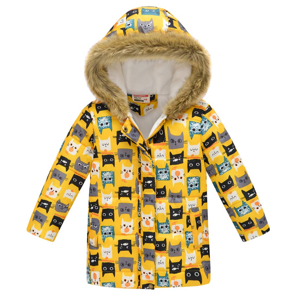 Yuege Baby Clothes Big Girls Boys Winter Parka Down Coat Puffer Jacket Padded Overcoat with Fur Hood by Yuege Baby Clothes