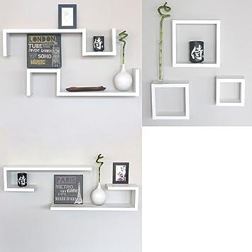 set 7 mensole bianche cubi design moderne mensola camera legno bianco con venature esse 3c ci